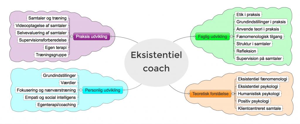 eksistentiel coachuddannelse og de fire områder